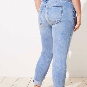 Loft Plus Modern Skinny Jeans Pearl Studded 16